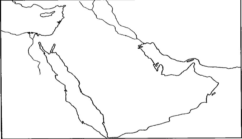 خريطة شبه الجزيرة العربية صماء ابيض واسود