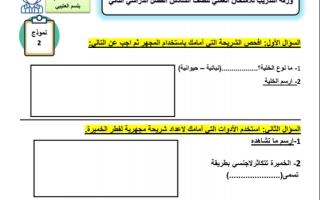 ورقة امتحان العملي 2 علوم للصف السادس الفصل الثاني إعداد بلسم العتيبي
