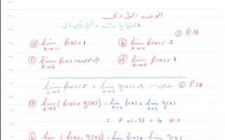 حل النهايات رياضيات للصف الثاني عشر