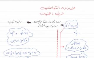 حل المعادلات التفاضلية رياضيات للصف الثاني عشر علمي الفصل الثاني