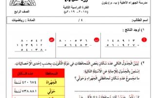 ورقة عمل 4 رياضيات للصف الرابع مدرسة الجهرء الأهلية الفصل الثاني