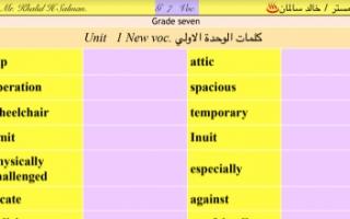كلمات انجليزي مترجمة للصف السابع الفصل الأول إعداد أ.خالد سالمان