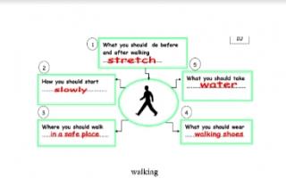 تقرير انجليزي للصف الخامس walking
