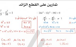 مذكرة تمارين القطع الزائد رياضيات للصف الثاني عشر علمي الفصل الثاني علا