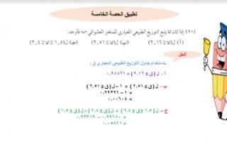 تطبيق حصة5 إحصاء للصف الثاني عشر أدبي الفصل الثاني التوزيع الاحتمالي الطبيعي