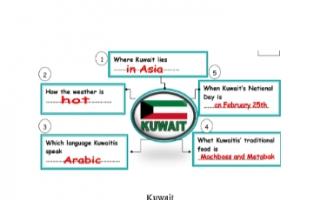 تقرير انجليزي للصف الخامس Kuwait