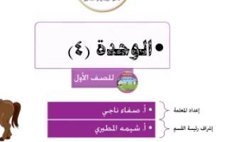 أوراق عمل الوحدة 4 رياضيات الصف الاول اعداد صفاء ناجي 2018 2019