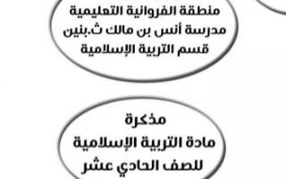 مذكرة إسلامية للصف الحادي عشر الفصل الأول ثانوية أنس بن مالك