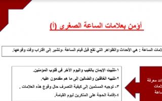 تقرير إسلامية للصف الثامن أؤمن بعلامات الساعة الصغرى