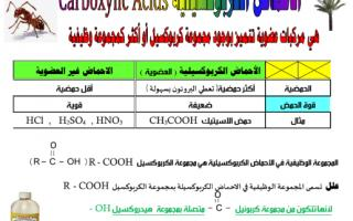 مراجعة الاحماض الكربوكسيلية كيمياء للصف الثاني عشر الفصل الثاني