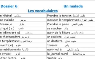 مذكرة مفردات الوحدة السادسة فرنسي للصف الثاني عشر أدبي الفصل الثاني