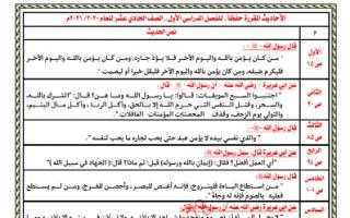 الاحاديث المقرر حفظها في التربية الاسلامية للصف الحادي عشر الفصل الاول