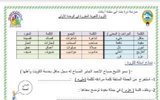 ورقة عمل الوحدة الأولى لغة عربية للصف الثالث للمعلمة عبير منصور