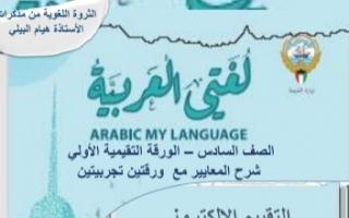 مذكرة شرح معايير الورقة التقييمية الأولى عربي للصف السادس الفصل الأول