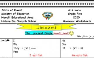 أوراق عمل نسخة غير محلولة (2+1)unites إنجليزي للصف الخامس مدرسة هشام بن أمية