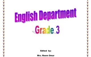 ورقة عمل 1 لغة إنجليزبة للصف الثالث للمعلمة ريم عمر