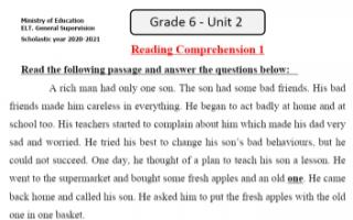 مذكرة الوحدة الثانية انجليزي للصف السادس الفصل الأول التوجيه العام Reading Comprehension 1