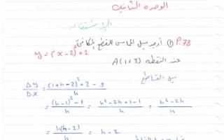 حل الوحدة الثانية الاشتقاق الجزء 1 رياضيات للصف الثاني عشر
