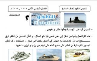 مذكرة علوم الطفو للصف السابع اعداد ابراهيم علي الفصل الثاني