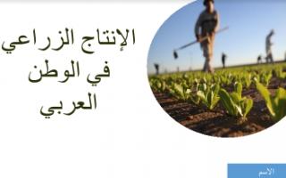 بوربوينت اجتماعيات سابع الانتاج الزراعي في الوطن العربي