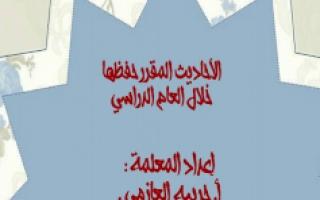 الأحاديث المقرر حفظها إسلامية للصف الثالث الفصل الأول للمعلمة . حربية العازمي 2018 2019.