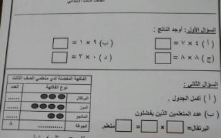 ورقة عمل رياضيات للصف الثالث مدرسة النجاة النموذجية