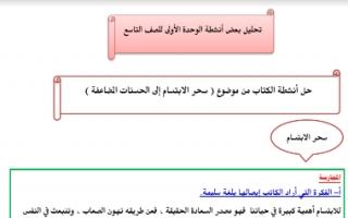 حل أنشطة الوحدة عربي للصف التاسع اعداد إيمان علي