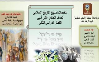 ملخصات تاريخ إسلامي للصف الحادي عشر أدبي الفصل الثاني ثانوية الرتقة
