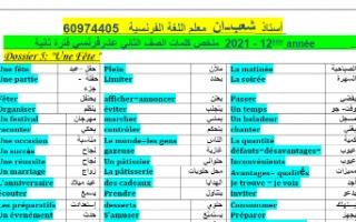 كلمات المنهج والمعنى والضد فرنسي للصف الثاني عشر أدبي الفصل الثاني إعداد أ.شعبان