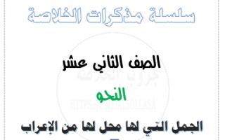 مذكرة نحو الجمل التي لها محل من الإعراب لغة عربية للصف الثاني عشر الفصل الثاني أ.عبدالناصر حسن