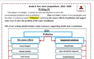 تقرير انجليزي Pollution للصف التاسع