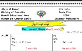 أوراق عمل نسخة محلولة (2+1)unites إنجليزي للصف الخامس مدرسة هشام بن أمية