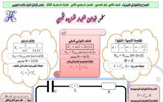ملخص قوانين التيار المتردد الجيبي فيزياء للصف الثاني عشر الفصل الثاني