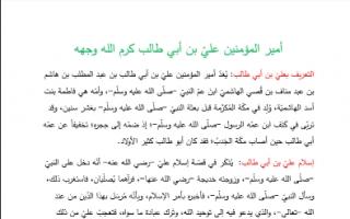 تقرير اسلاميه أمير المؤمنين علي بن ابي طالب للصف الثاني عشر الفصل الاول