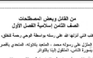 من القائل ومصطلحات تربية اسلامية للصف الثامن الفصل الأول اعداد عبد المحسن محمد