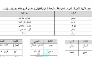 مذكرة الثروة اللغوية الوحدة الأولى عربي للصف السادس الفصل الأول إعداد أ.صالح أمين