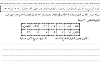 أوراق عمل إحصاء للصف الحادي عشر أدبي الفصل الثاني ثانوية الشجاع بن الأسلم