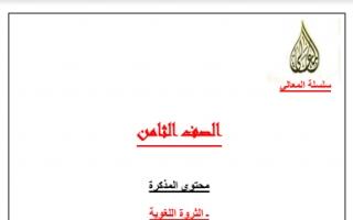 مراجعة شاملة عربي للصف الثامن سلسلة المعالي