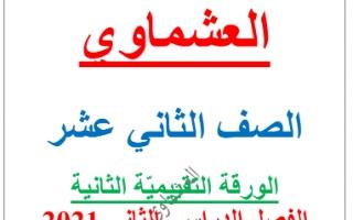 الاختبارات التجريبية الورقة التقييمية الثانية لغة عربية للصف الثاني عشر الفصل الثاني العشماوي