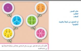 تقرير عالم الكسور الرياضيات للصف الرابع الفصل الأول