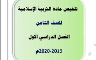 تلخيص اسلامية للصف الثامن اعداد اسماء الشمري الفصل الاول