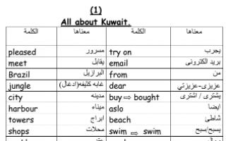 مذكرة لغة إنجليزية ( 4 1)unites للصف الثالث الفصل الأول
