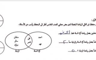 نموذج إجابة امتحان رياضيات للصف الخامس الفصل الأول مدرسة عايشة