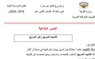 مذكرة الصور البلاغية لغة عربية للصف الثاني عشر الفصل الثاني التشبيه الصريح وغير الصريح