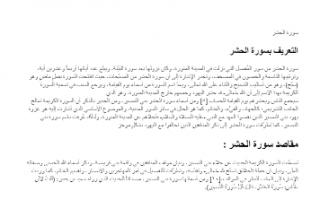 تقرير سورة الحشر تربية اسلامية للصف الثاني عشر