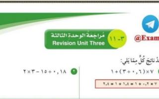 مراجعة الوحدة الثالثة محلولة رياضيات للصف السادس الفصل الاول