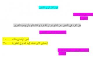 تقرير حرية الرأي والتعبير دستور للصف الثاني عشر الفصل الثاني