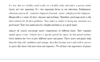 تقرير انجليزي للصف العاشر عن اهمية الرياضة
