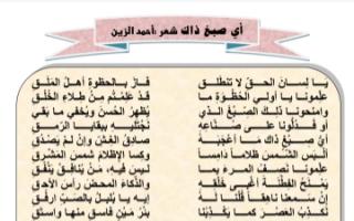مذكرة أي صبغ ذاك لغة عربية للصف الثاني عشر الفصل الثاني التعلم عن بعد