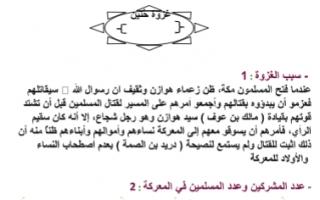 تقرير اسلامية للصف التاسع غزوة حنين